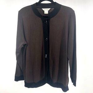 Exclusively Misook Brown Button Knit Cardigan
